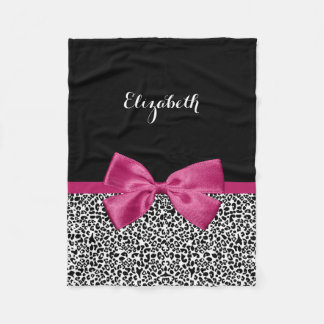 Vivacious Dark Pink Ribbon Leopard Print With Name Fleece Blanket