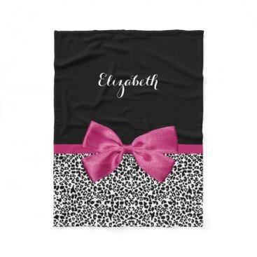 ohsogirly Vivacious Dark Pink Ribbon Leopard Print With Name Fleece Blanket