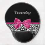 Vivacious Dark Pink Ribbon Leopard Print With Name Gel Mouse Pad