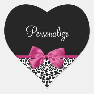 Vivacious Dark Pink Ribbon Leopard Print With Name Heart Sticker