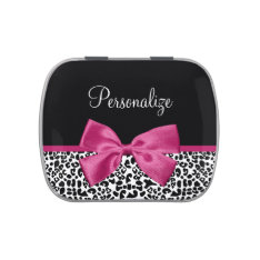 Vivacious Dark Pink Ribbon Leopard Print With Name Jelly Belly Candy Tins at Zazzle