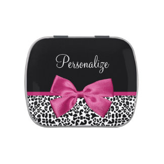 Vivacious Dark Pink Ribbon Leopard Print With Name Jelly Belly Candy Tins