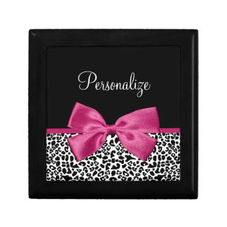 Vivacious Dark Pink Ribbon Leopard Print With Name Jewelry Box