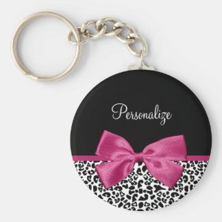Vivacious Dark Pink Ribbon Leopard Print With Name Basic Round Button Keychain