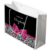Vivacious Dark Pink Ribbon Leopard Print With Name Large Gift Bag