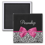 Vivacious Dark Pink Ribbon Leopard Print With Name Refrigerator Magnets
