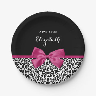 Vivacious Dark Pink Ribbon Leopard Print With Name Paper Plate