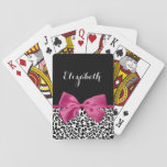 "Vivacious Dark Pink Ribbon Leopard Print With Name Playing Cards<br><div class=""desc"">A trendy black and white leopard print deck of cards with a vivacious dark pink ribbon tied into a cute girly bow. Personalize this chic and stylish animal pattern design by adding the name of your teen girl. Flat printed image,  not actual ribbon.</div>"