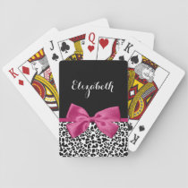 Vivacious Dark Pink Ribbon Leopard Print With Name Playing Cards