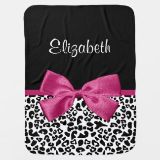 Vivacious Dark Pink Ribbon Leopard Print With Name Receiving Blanket