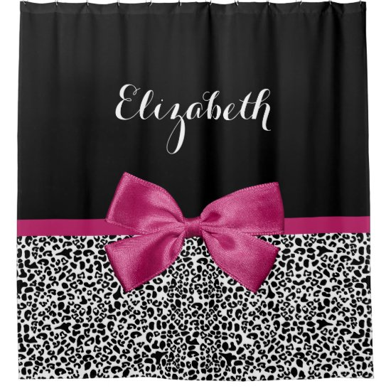 Vivacious Dark Pink Ribbon Leopard Print With Name Shower Curtain