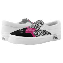 Vivacious Dark Pink Ribbon Leopard Print With Name Slip-On Sneakers
