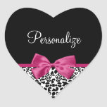 Vivacious Dark Pink Ribbon Leopard Print With Name Heart Sticker