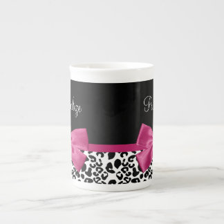 Vivacious Dark Pink Ribbon Leopard Print With Name Tea Cup