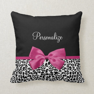 Vivacious Dark Pink Ribbon Leopard Print With Name Throw Pillow