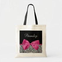Vivacious Dark Pink Ribbon Leopard Print With Name Tote Bag