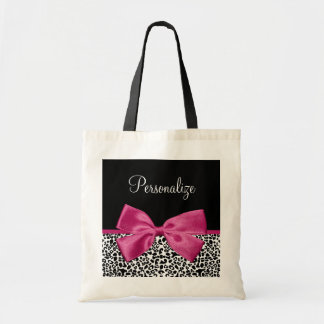 Vivacious Dark Pink Ribbon Leopard Print With Name Tote Bag