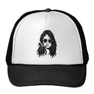 Vivacious girl in shades trucker hat