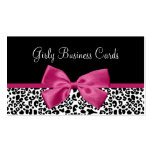 Vivacious Pink Bow Modern Leopard Print Boutique Business Card Template