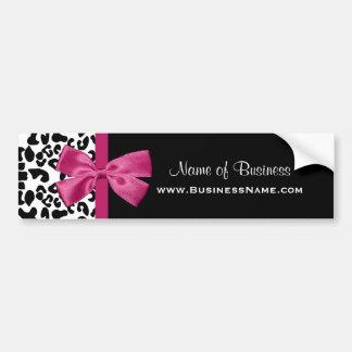 Vivacious Pink Ribbon Leopard Print Business Card Car Bumper Sticker