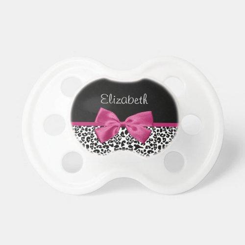 Vivacious Pink Ribbon Modern Fashion Leopard Print Pacifier