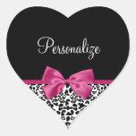 Vivacious Pink Ribbon Modern Fashion Leopard Print Heart Sticker