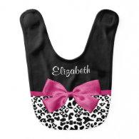 Vivacious Pink Ribbon Modern Fashion Leopard Print Baby Bibs
