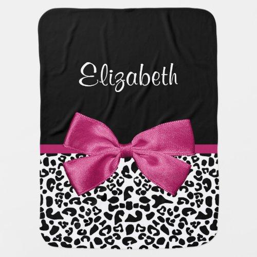 Vivacious Pink Ribbon Modern Fashion Leopard Print Stroller Blankets