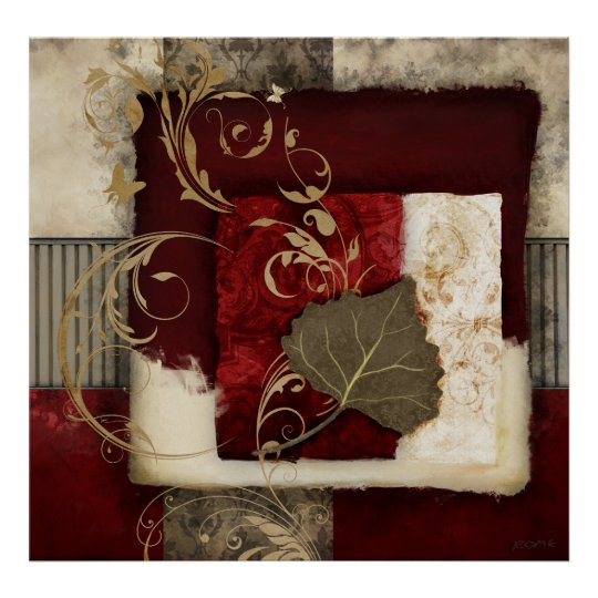 Vivaldi - Red Abstract Collage Art Poster