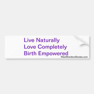 Vive, ama, el nacimiento pegatina de parachoque