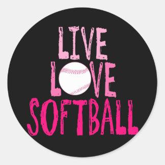 Vive, ama, el softball pegatina redonda