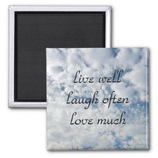 vive bien el amor de la risa a menudo mucho imán cuadrado