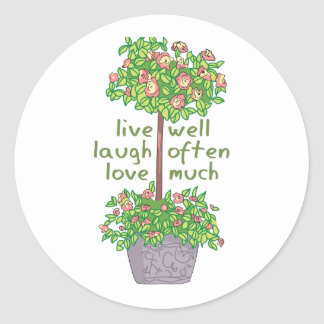 Vive bien el amor de la risa a menudo mucho etiquetas redondas
