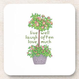 Vive bien el amor de la risa a menudo mucho posavasos de bebidas