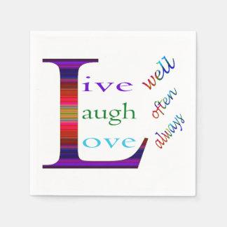 Vive bien, la risa a menudo, ama siempre servilletas de papel