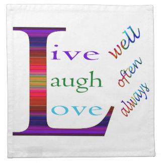 Vive bien, la risa a menudo, ama siempre servilletas imprimidas