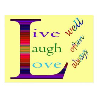 Vive bien la risa a menudo ama siempre postales