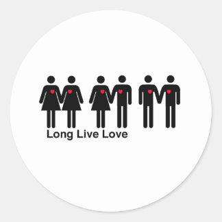 Vive de largo el amor pegatina redonda