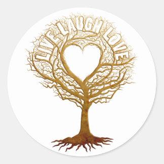 Vive el amor de la risa - árbol de la vida pegatina redonda