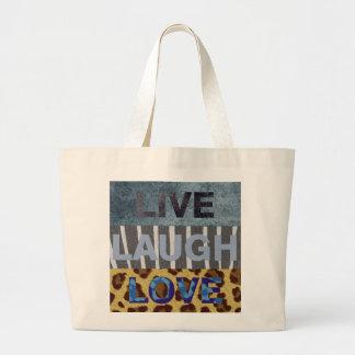 Vive el amor de la risa bolsa tela grande