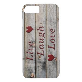 Vive el amor de la risa en el lado de un granero funda iPhone 7