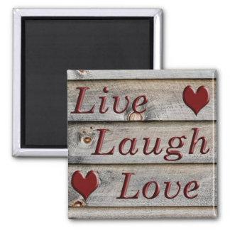 Vive el amor de la risa en el lado de un granero imán cuadrado