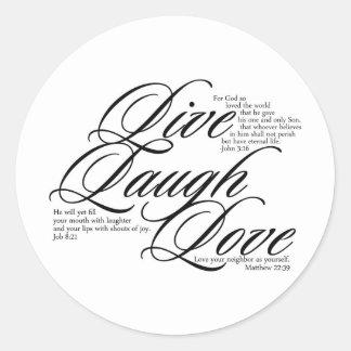 Vive el amor de la risa pegatina redonda