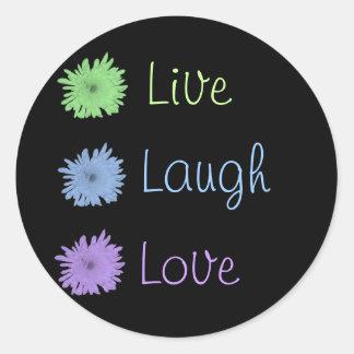 Vive el amor de la risa etiqueta redonda