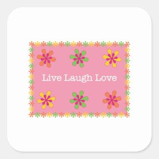 Vive el amor de la risa pegatinas cuadradas