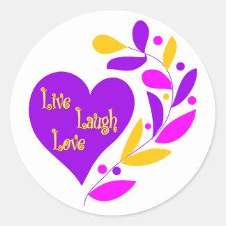 Vive el corazón del amor de la risa pegatinas redondas
