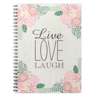 Vive el cuaderno floral del amor de la risa
