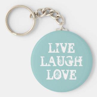 Vive el llavero del amor de la risa con cita inspi