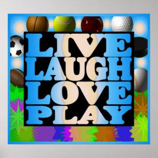 Vive el poster de los deportes del juego del amor