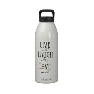 Vive el texto simple del amor de la risa botellas de agua reutilizables
